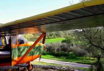Le Cessna de Natura Lodge – Vue directe sur les champs d'oliviers ©D.R.